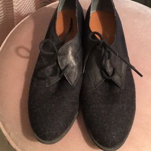 Wool and leather Oxfords